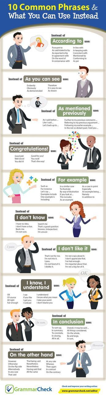 There are common phrases you will be using to converse with other people. Instead of using them, kindly read this infographic that will give you some information about using other phrases. To learn more, enroll at the number 1 English proficiency academy in Cebu, Philippines --- the Genius English Proficiency Academy. Website: www.studyenglishgenius.com Russian website: www.studyenglishgenius.com/ru/ E-mail: info@studyenglishgenius.com Skype ID: geniusenglishacademy #IELTS #TOEFL #ESL