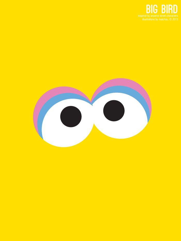 Sesame Street Big Bird Illustration Poster via design. bake. run.