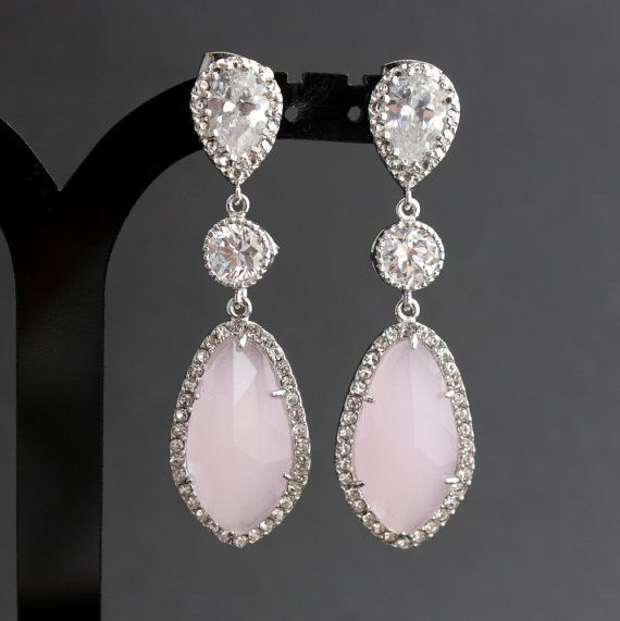 Pink Bridal Jewelry Wedding Earrings Silver Cubic Zirconia Posts Light Gl Drops Erin S Getting Married