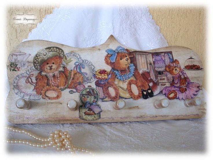 A totally handmade wooden child hanger from my beloved husband, who materialized on wood a personal consept of mine... decoupage with rice paper and napkin, hand painted on the details and a touch of patina. A creation made with endless love for our children ♥♥♥