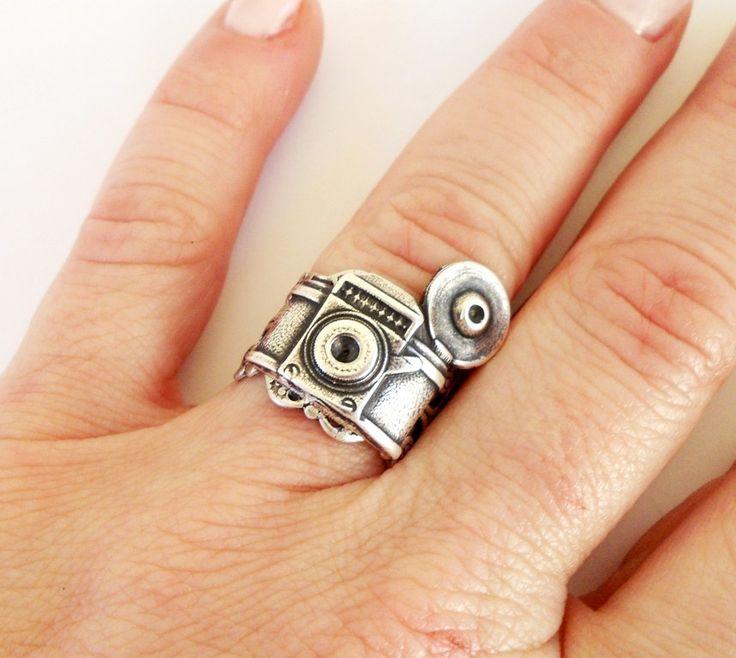 Steampunk Camera Ring- Adjustable- Sterling Silver Ox. $28.00, via Etsy.