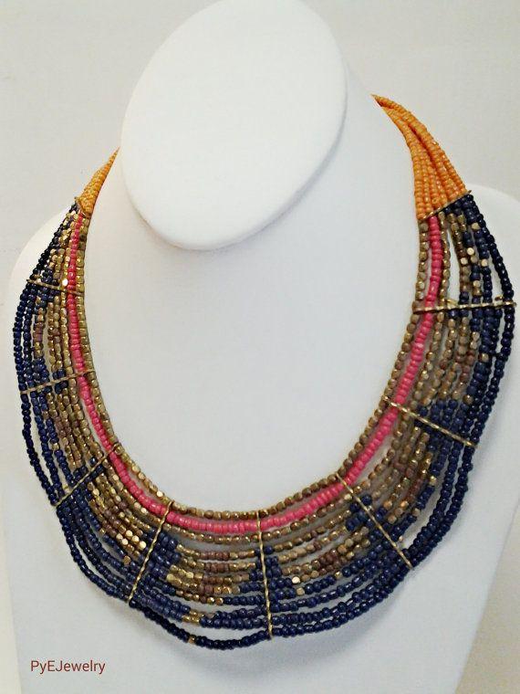 Collar azul marino oro y naranja declaración / Multi Strand