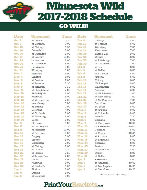 Comprehensive image for mn wild schedule printable