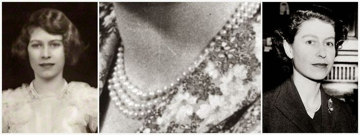 From Her Majesty's Jewel Vault: The Queen's Three Strand Pearl Necklaces In celebration of his Silver Jubilee in 1935, George V gave his two granddaughters a pearl necklace each: a double strand for Princess Margaret and a triple strand for Princess Elizabeth. The Queen's version is made of evenly sized pearls, and was worn by her primarily as a young woman. She has continued to wear it throughout the years, but today it is a rare sight.