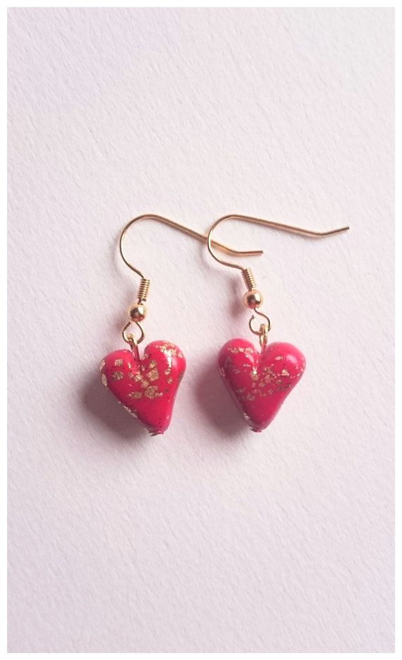 Polymer clay red heart earrings by Little Clay Place