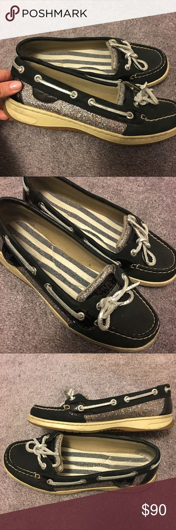 """🎉BOGO FREE OR 25% OFF BUNDLES🎉 Black Sperries Have only been work two to three times, they are in great condition. Absolutely beautiful design with sparkling sides and black. Silver laces. Size 6.5 and true to size. I believe they are the """"angelfish"""" style. I bought these from Sperry Top-sider at full price and still  have the box (I think.) Respectful offers only please. Starting full time work where I need to wear dress clothes and unfortunately won't be wearing these much! Sperry…"""