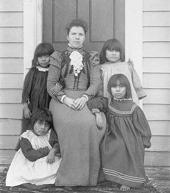 Mrs. Pringle with Yahgan girls