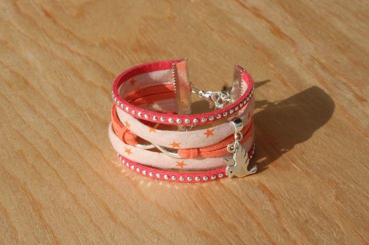 Bracelet manchette ENFANT - Tons orange - girly et strass - comme maman! : Bijoux enfants par boisdesoluthe