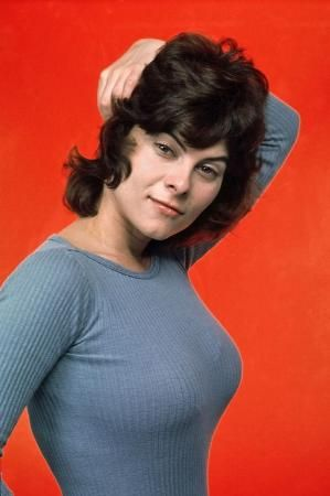 Adrienne Barbeau in tight grey sweater, 1970s by terry
