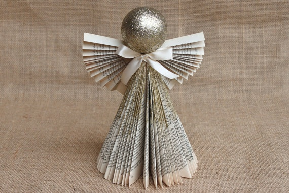 Folded Book Angel Gold 11 by whimsysworkshop on Etsy, $12.00