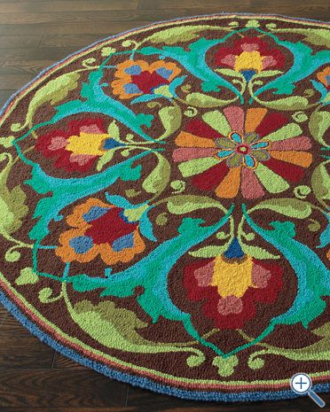 Porcelain Garden Hooked Wool Rug by Company C: Gardens Hooks, Round Rugs, Colors Combos, Living Rooms, Garnet Hill, Wool Rugs, Accent Colors, Porcelain Gardens, Hooks Wool
