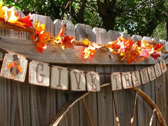 Thanksgiving Decor Banner Give Thanks Rustic Country Burlap Turkey Chipboard Banner on Etsy, $24.95