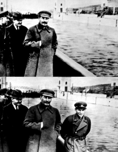 "Photo-editing has been used to erase history. Josef Stalin was notorious for airbrushing people out of pictures when he no longer had use for them. Cronie Nikolai Yezhov  fell out of Stalin's favour,  was arrested in 1939, and executed in Feb 1940. The bottom photo is from the mid 1930s - the other from 1940. Stalin ""erased"" Yezhov. See Wiki's 'Censorship of images in the Soviet Union' page for more."