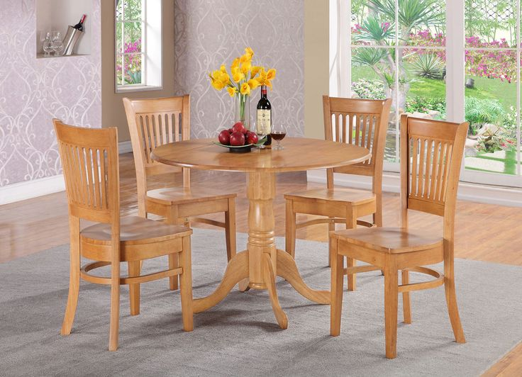 3PC ROUND DINETTE KITCHEN DINING SET TABLE W 2 PLAIN WOOD SEAT CHAIRS IN OAK
