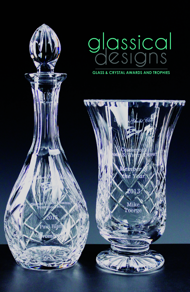 Durham Cut Crystal Decanter and Footed Vase. Made with 24% Lead and Custom Engraved. Perfect for any Employee Appreciation or Recognition Gift. #glassicald #awards #trophies