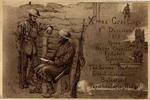 1st Bn RWF 7th Division Xmas card 1917.