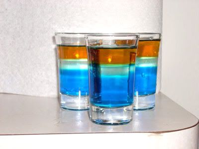 Mudkip (Pokemon Shot)  Ingredients:  1/2 ounce Peach Schnapps (Peachtree) 1 ounce Blue Curacao (Dekuyper) 3/8 ounce Caramel Liquor (Southern Comfort)  Directions: Pour the Blue Curacao into a double shot glass and then, using a bar spoon, layer the Peach Schnapps and Caramel Liquor on top in that order.