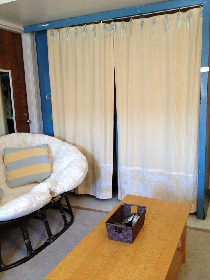 Dorm Room Closet: Custom Curtains Made To Match Throw Pillows For College
