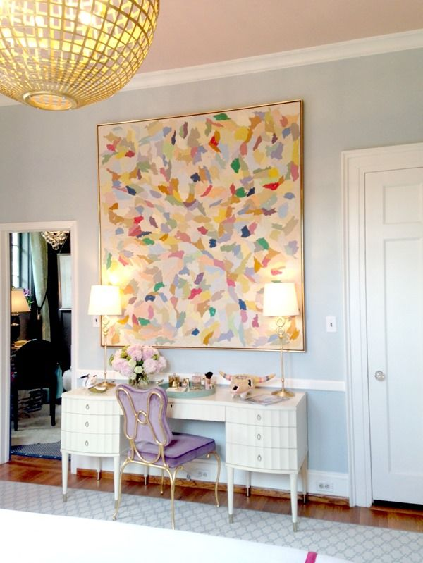 Oversized Abstract Art Over Desk (Traditional Home Show House, High Point)
