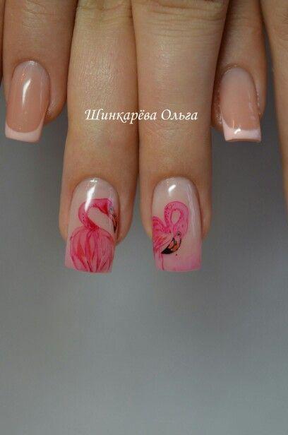 Наращивание ногтей. Акварель. Фламинго. Ручная работа.