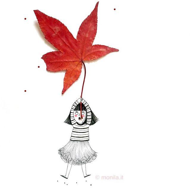 Monila handmade,illustrazione,illustration,foglia,rosso,red,rouge,leaver,i ghirigori di Monila