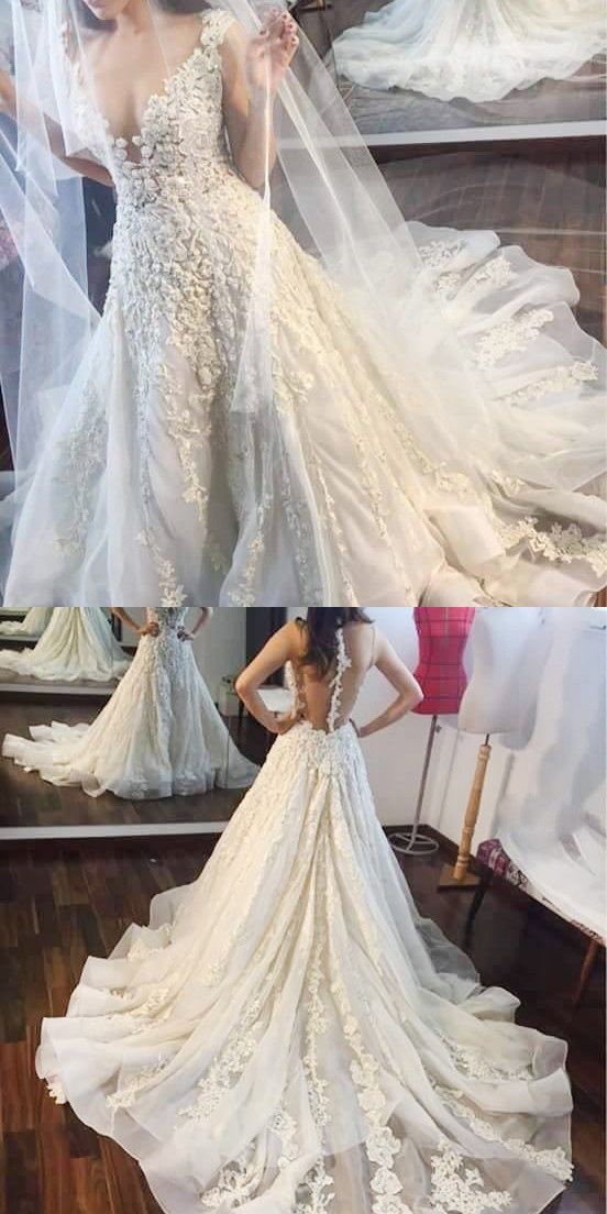long wedding dresses with lace appliques, dresses for bridal, 2017 new arrival wedding dresses, special wedding gowns, vneck wedding dresses for bridal, high quality wedding dresses for bridal