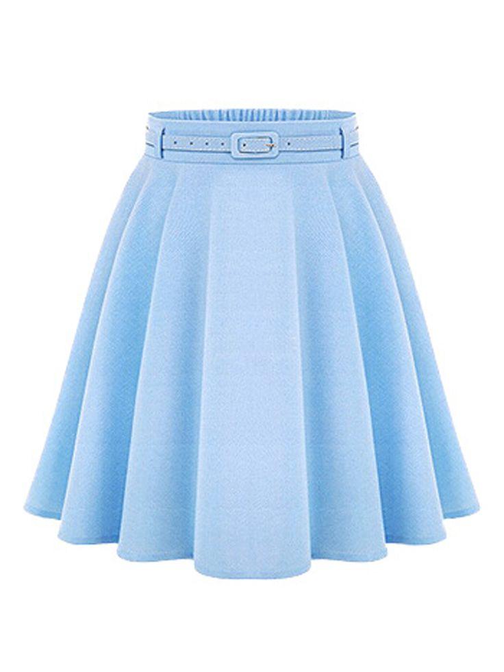 Blue High Waist Silky Skater Skirt With Belt