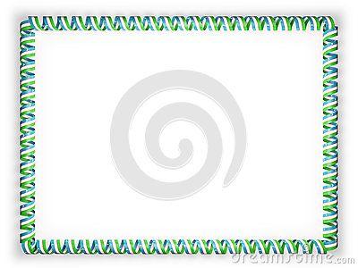 Frame and border of ribbon with the Uzbekistan flag. 3d illustration.