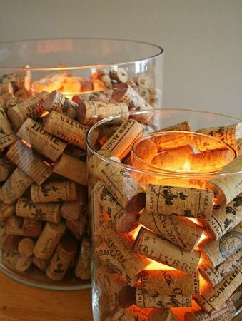 Put a fake candle in the middle of a vase and put wine corks around the candle