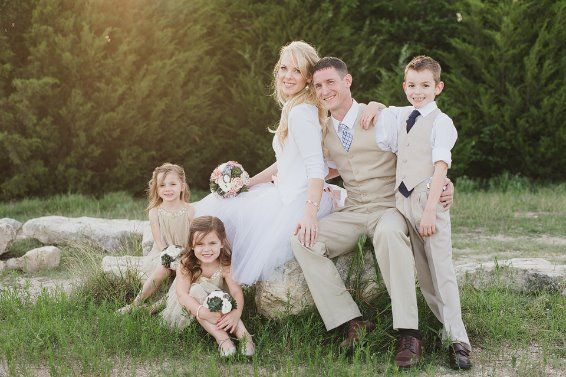 Our favorite family photo from the wedding. Wedding Party. flower Girls. Ring bearer. Posed Wedding Portrait. Wedding photo inspiration. Family portrait ideas.