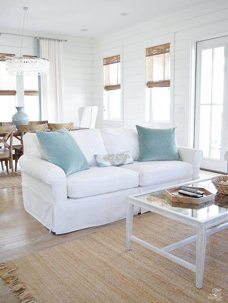 beach house decor coastal living room design white stone fireplace white slipcovered couches beach house design coastal living room decor mantle on stone fireplace -3