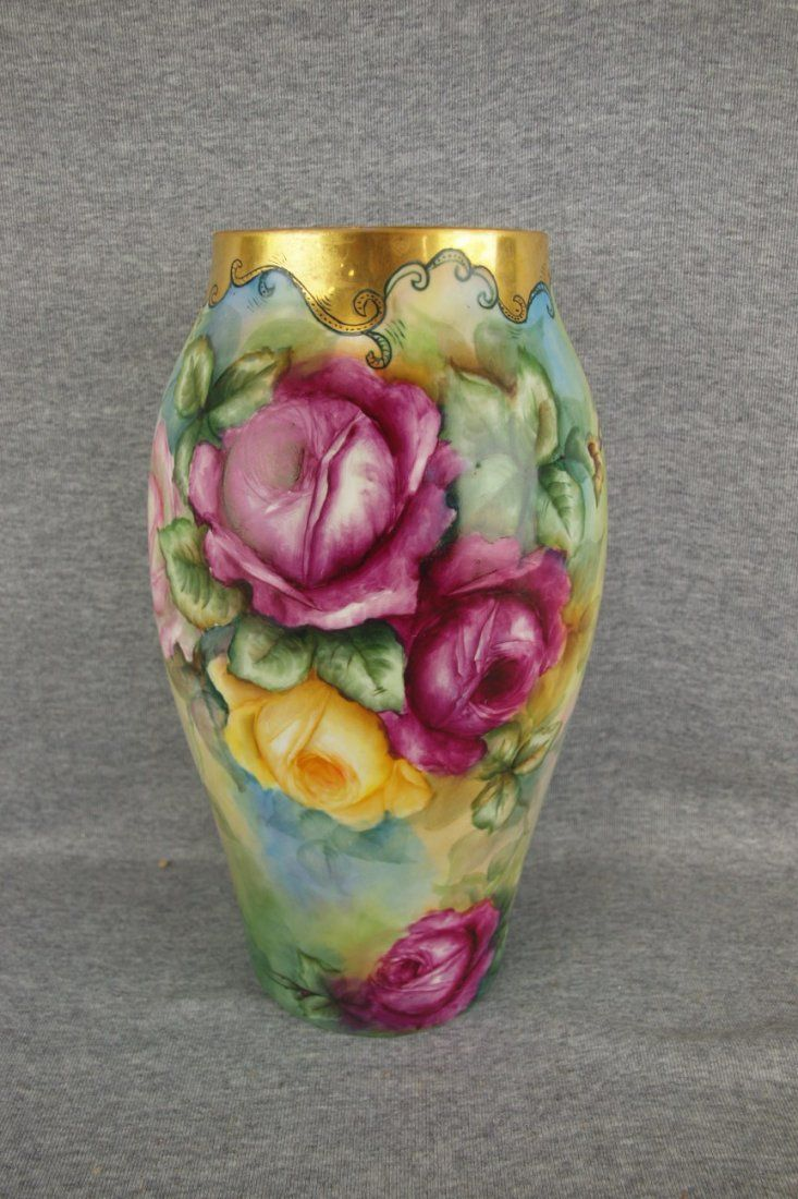 52 best painted vases love them images on pinterest painted french limoges hand painted vase with roses measures 12 12 inches in height reviewsmspy