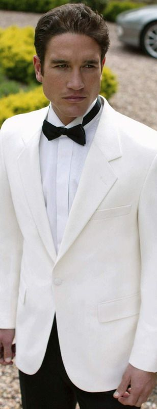 #Groom White dinner jacket https://itunes.apple.com/us/app/the-gold-wedding-planner/id498112599?ls=1=8 has tips on #planning your #wedding while keeping costs down.