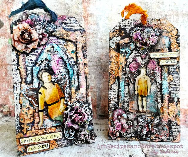 Twin mixed media tags by Natassa Blazaki for the October challenge at Scraps n pieces blog