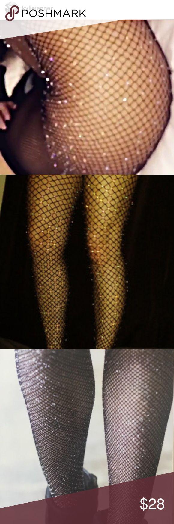 Kylie Jenner Glitter Sparkle Nylon Fishnet Tights  Kylie Jenner Glitter Sparkle Nylon Fishnet Tights. With feet. Not leggings. These are nylon fishnet tights/stockings. NWOT. These are fishnet with glitter sparkles. In the color black. ❤️ The size runs true. Trend Alert !!! Please specify your size. Small or Medium. Yeezy Other