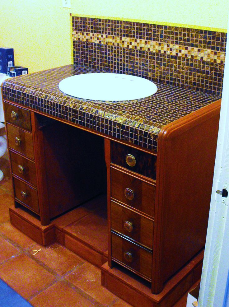 We Could Convert That Antique Desk Into A Bathroom Vanity With Tile And Restaining New Home