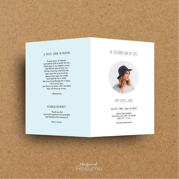 Funeral Program Template - Printable by The.French.Resume on @creativemarket