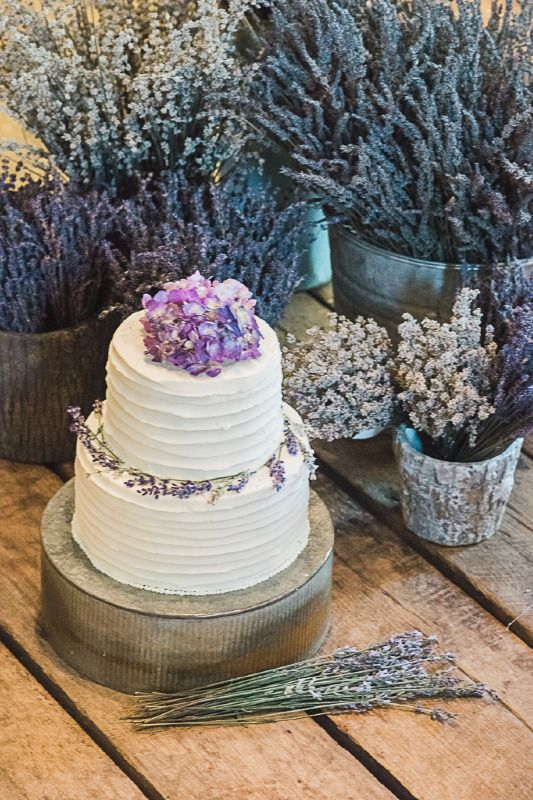 Lovely Provence inspired wedding cake from Mon Cheri Cakes in Crozet, Virginia adorned with lavender and hydrangea. And so tasty! Grand Marnier soaked Lemon Butter Cake filled with Local Peach Butter and Orange Scented Butter Cream Frosting. See more here: http://www.3catsphoto.com