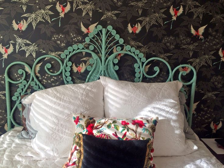 """Bedhead arrived looking fantastic. Our bed now looking exactly as I imagined! Thank you, Faye"".  Faye G in Auckland. Freya Peacock Bedhead - King in Cloud Blue"