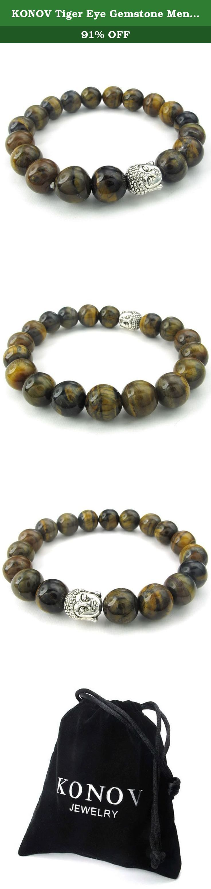 KONOV Tiger Eye Gemstone Mens Womens Bracelet, 10mm Energy Bead, Buddha Mala, Brown Silver. Why choose Stainless Steel Jewelry? Stainless Steel jewelry does not tarnish and oxidize, which can last longer than other jewelries. It is able to endure a lot of wear and tear. And it is amazingly hypoallergenic. Such advantages make it a more popular accessory. Why need Stainless Steel Jewelry? High quality stainless steel has high resistance to rust, corrosion and tarnishing, which requires...