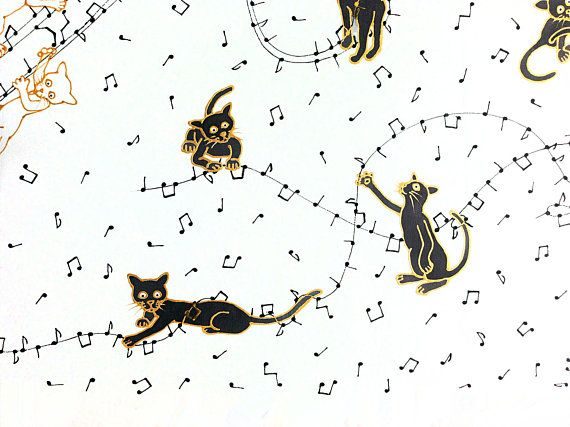 hand painted silk scarf for cat lovers: black cats playing
