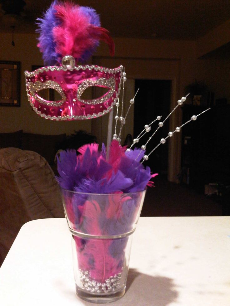 Sweet 16 Masquerade Party Ideas | Mask Centerpiece | Sweet Sixteen Party Ideas
