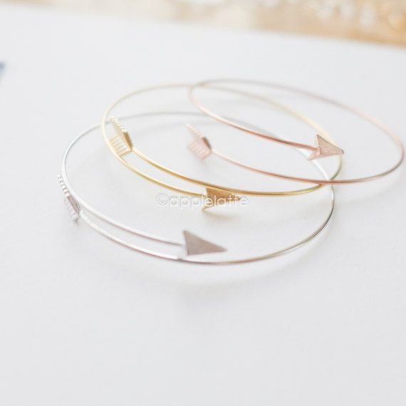 arrow bracelet in gold/silver/pink, arrow cuff, arrow wrapping bracelet, stretch bracelet, arrow bangle on Etsy, $17.80