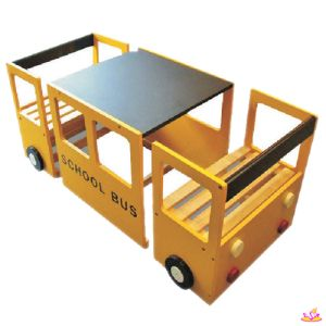 School Bus Wooden Kids Study Table and Chair, Study Table with Blackboard…