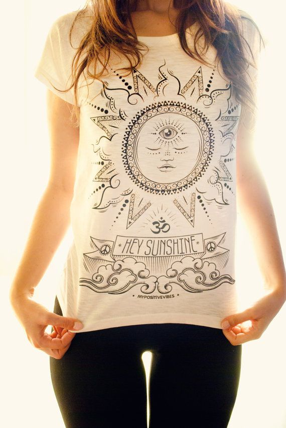 Yoga t-shirt Hey Sunshine white by myPositiveVibes on Etsy