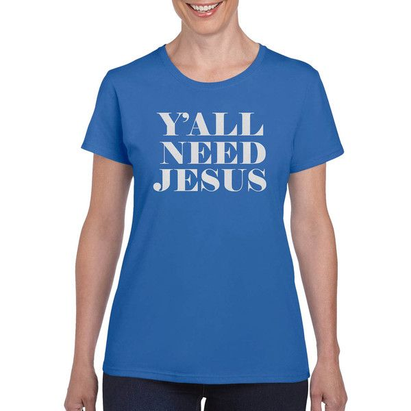 Y'all Need Jesus Y'all Need Jesus Shirt Southern Shirts Southern T... ($18) ❤ liked on Polyvore featuring tops, t-shirts, purple, women's clothing, cap sleeve t shirt, t shirt, purple checkered shirt, blue checkered shirt and sport shirt