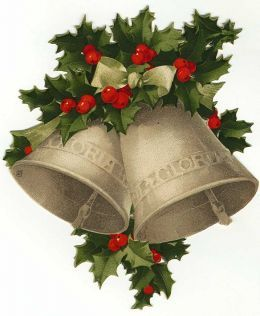 Vintage Christmas bells and holly Lots of FREE clip art