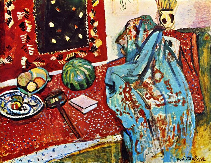 Still LIfe with Red Carpet from Henri Matisse. Matisse was often inspired by Oriental topics and carpets were important in his work.