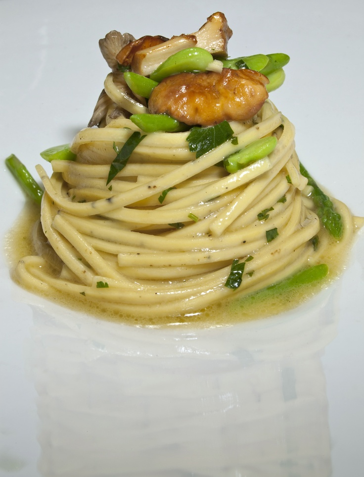Albesi Truffle Pasta with Asparagus, Broad Beans and Mushrooms