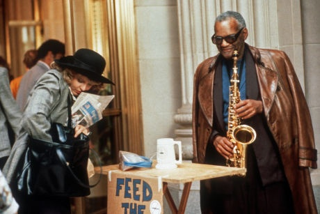 "Ray Charles as the archangel Julius in Limit up (1989). The film is about a runner at the Chicago Board of Trade (Nancy Allen) who sells her soul to the devil to be a successful soybean trader. Ray Charles, ""a sax player who stands in front of the CBOT, and depending if you tip him or not, that's how well you're going to do that day. Its subplot is ending world hunger through manipulating soybean prices."""